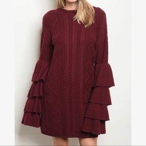 BURGUNDY SWEATER DRESS